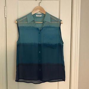 Equipment Femme sheer ombré silk shirt